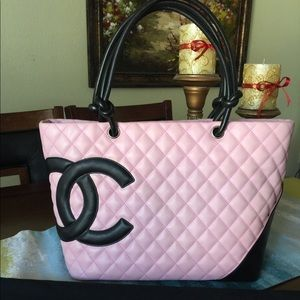 Chanel Pink Leather Cambon Tote